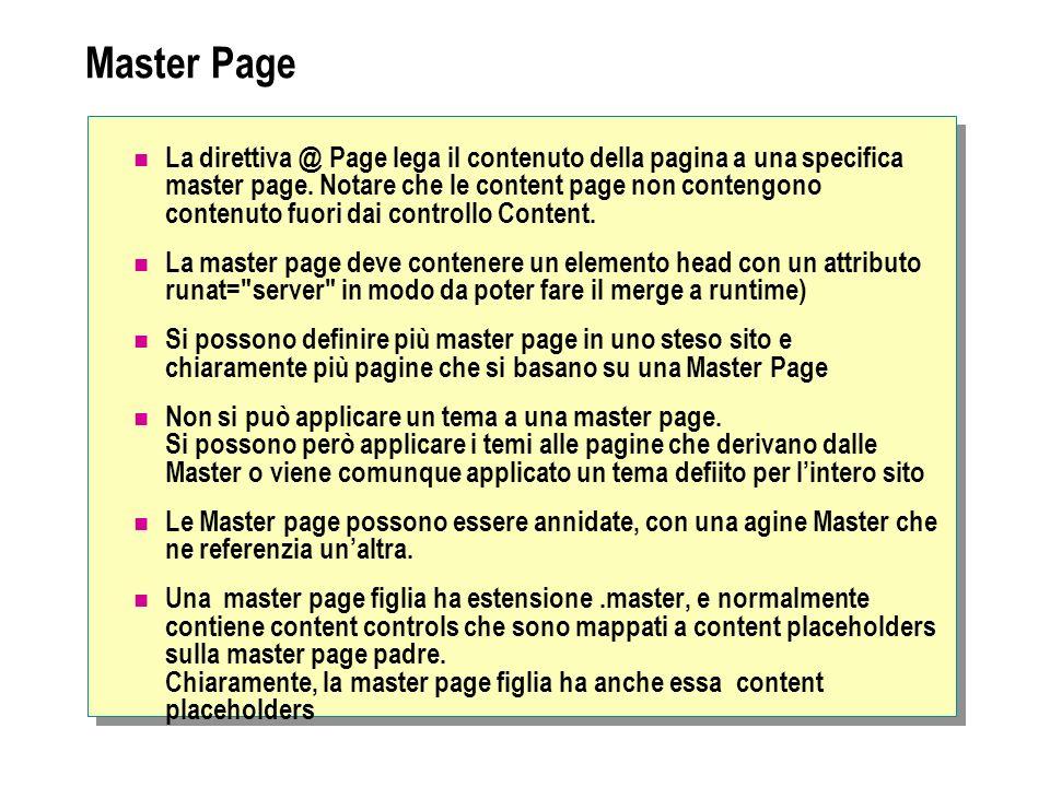 Master Page La direttiva @ Page lega il contenuto della pagina a una specifica master page. Notare che le content page non contengono contenuto fuori