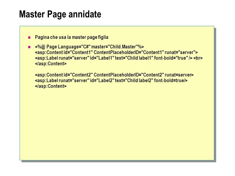 Master Page annidate Pagina che usa la master page figlia