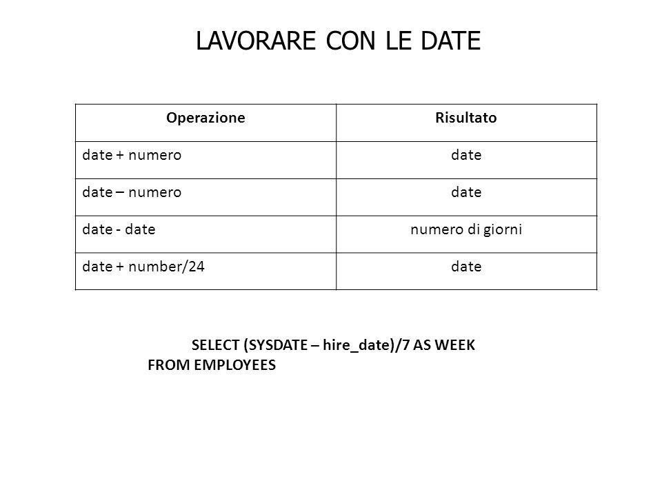 OperazioneRisultato date + numerodate date – numerodate date - datenumero di giorni date + number/24date LAVORARE CON LE DATE SELECT (SYSDATE – hire_d