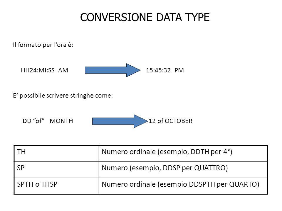 CONVERSIONE DATA TYPE Il formato per lora è: HH24:MI:SS AM 15:45:32 PM E possibile scrivere stringhe come: DD of MONTH 12 of OCTOBER THNumero ordinale