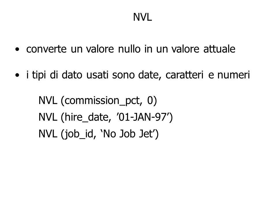 NVL converte un valore nullo in un valore attuale i tipi di dato usati sono date, caratteri e numeri NVL (commission_pct, 0) NVL (hire_date, 01-JAN-97