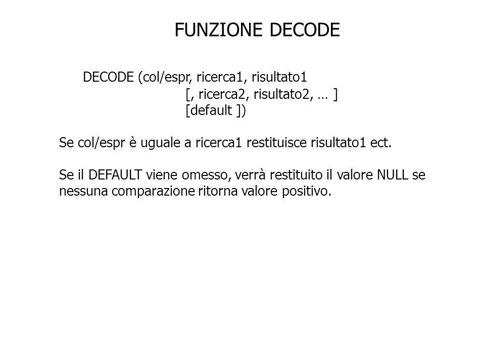 FUNZIONE DECODE DECODE (col/espr, ricerca1, risultato1 [, ricerca2, risultato2, … ] [default ]) Se col/espr è uguale a ricerca1 restituisce risultato1