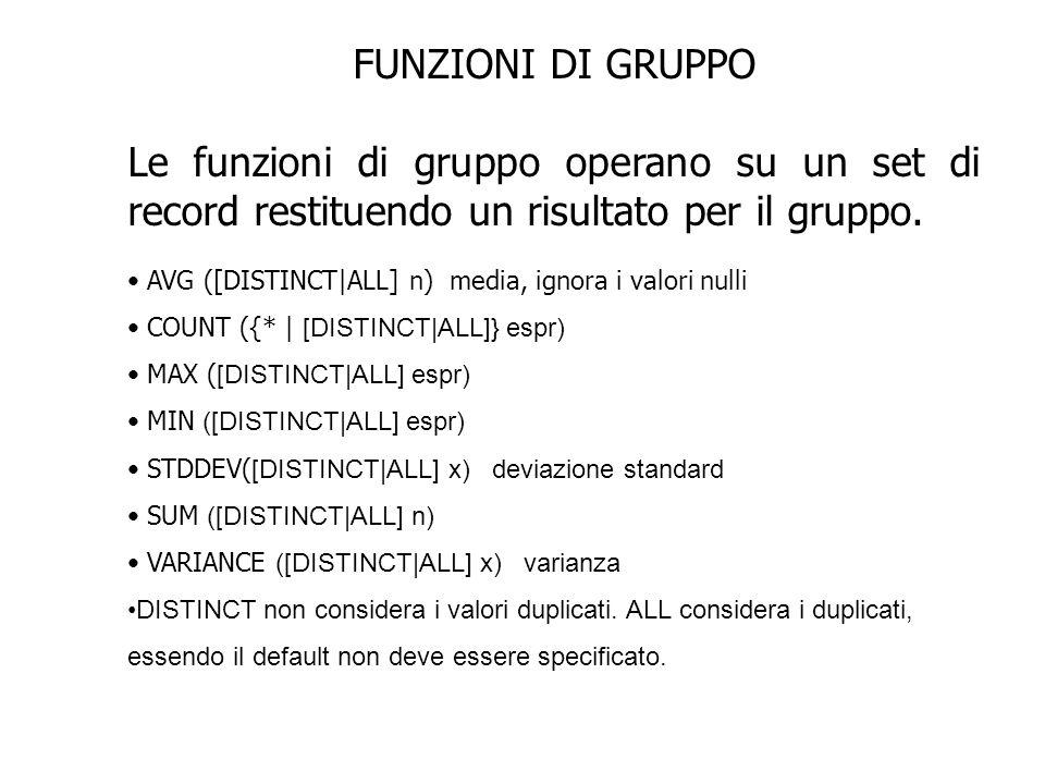 FUNZIONI DI GRUPPO Le funzioni di gruppo operano su un set di record restituendo un risultato per il gruppo. AVG ([DISTINCT|ALL] n) media, ignora i va