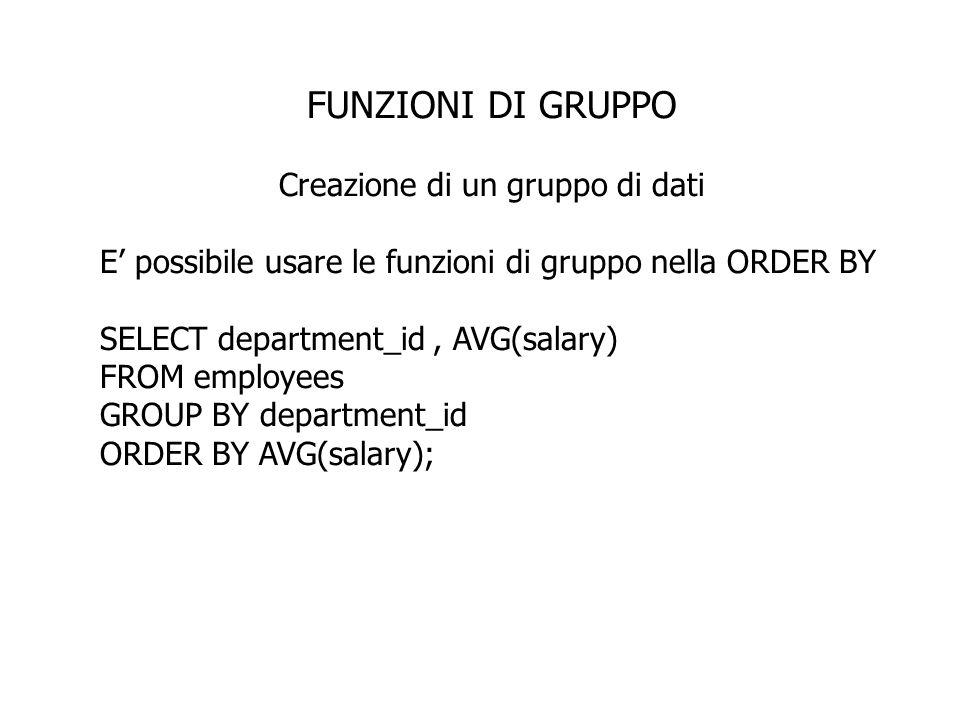 FUNZIONI DI GRUPPO Creazione di un gruppo di dati E possibile usare le funzioni di gruppo nella ORDER BY SELECT department_id, AVG(salary) FROM employ