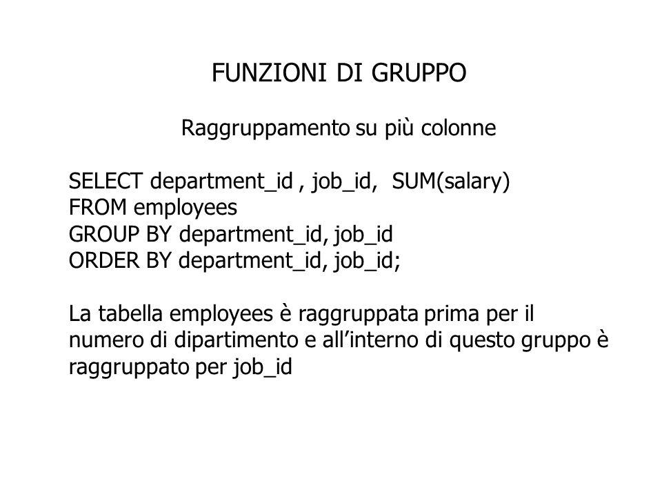 FUNZIONI DI GRUPPO Raggruppamento su più colonne SELECT department_id, job_id, SUM(salary) FROM employees GROUP BY department_id, job_id ORDER BY depa