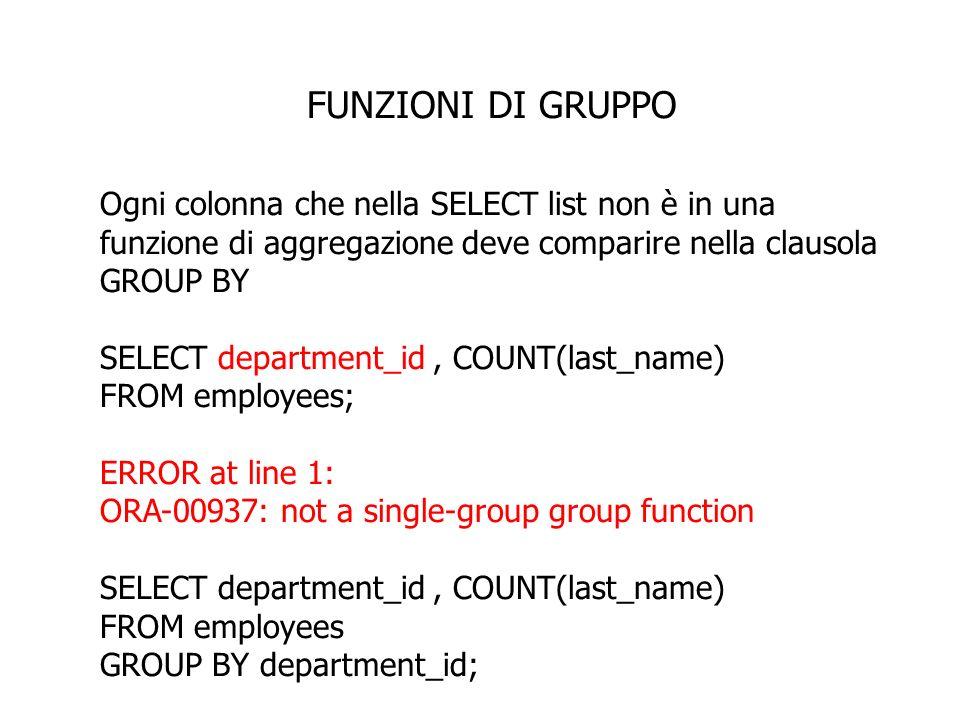 FUNZIONI DI GRUPPO Ogni colonna che nella SELECT list non è in una funzione di aggregazione deve comparire nella clausola GROUP BY SELECT department_id, COUNT(last_name) FROM employees; ERROR at line 1: ORA-00937: not a single-group group function SELECT department_id, COUNT(last_name) FROM employees GROUP BY department_id;
