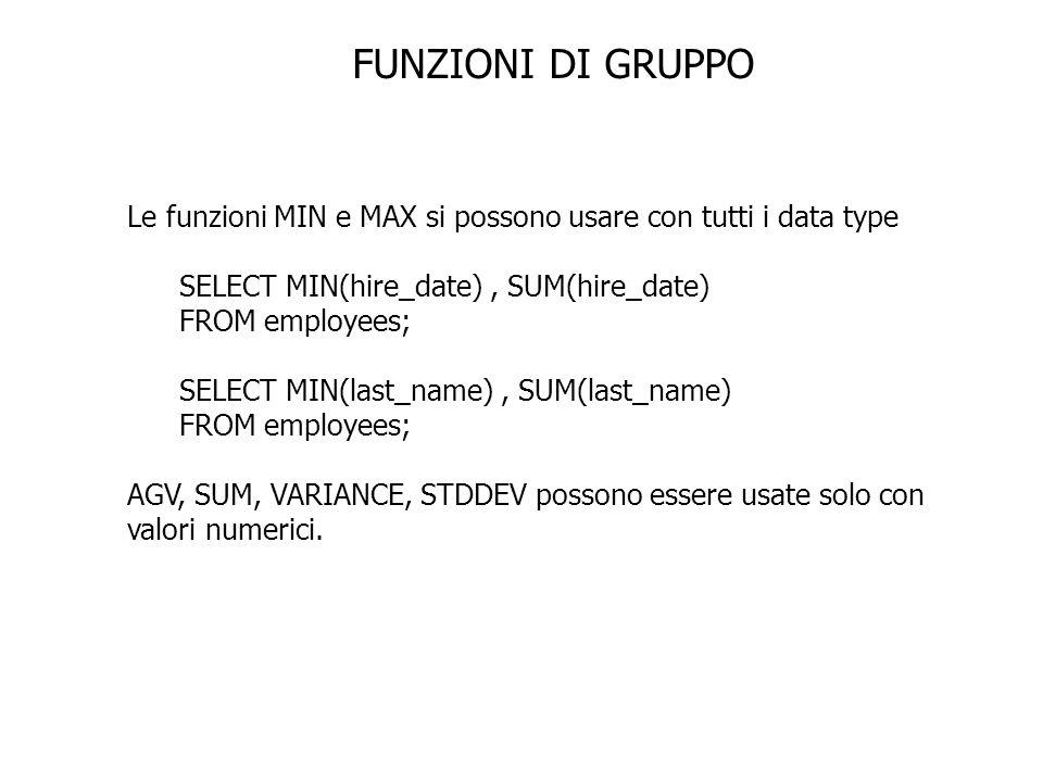 FUNZIONI DI GRUPPO Le funzioni MIN e MAX si possono usare con tutti i data type SELECT MIN(hire_date), SUM(hire_date) FROM employees; SELECT MIN(last_