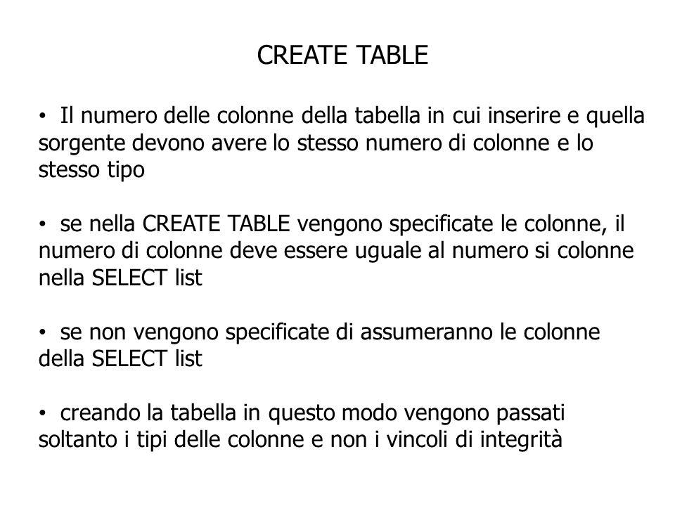 CREATE TABLE Il numero delle colonne della tabella in cui inserire e quella sorgente devono avere lo stesso numero di colonne e lo stesso tipo se nell