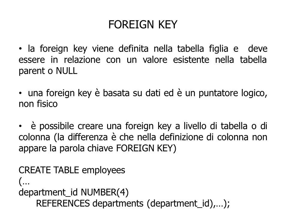 FOREIGN KEY la foreign key viene definita nella tabella figlia e deve essere in relazione con un valore esistente nella tabella parent o NULL una fore