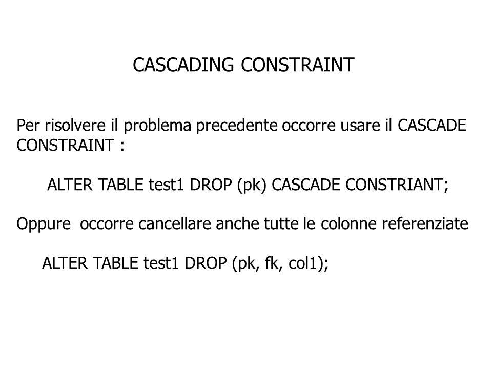 CASCADING CONSTRAINT Per risolvere il problema precedente occorre usare il CASCADE CONSTRAINT : ALTER TABLE test1 DROP (pk) CASCADE CONSTRIANT; Oppure