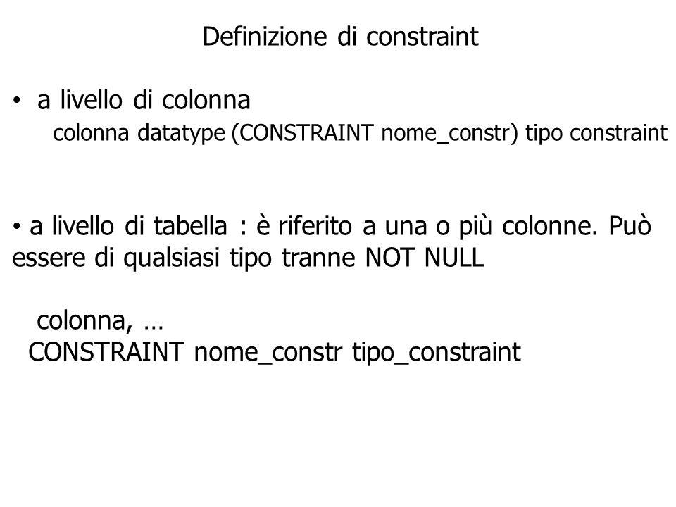 AGGIUNGERE CONSTRAINT Usare ALTER TABLE per : aggiungere o cancellare constraint, ma non per modificare la struttura abilitare o disabilitare constraint aggiungere il constraint NOT NULL con la clausola MODIFY ALTER TABLE table ADD CONSTRAINT constraint type (colonna);