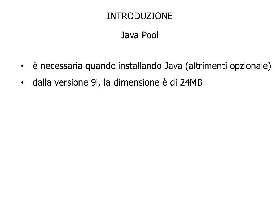 INTRODUZIONE Java Pool è necessaria quando installando Java (altrimenti opzionale) dalla versione 9i, la dimensione è di 24MB