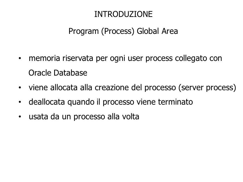 INTRODUZIONE Program (Process) Global Area memoria riservata per ogni user process collegato con Oracle Database viene allocata alla creazione del pro