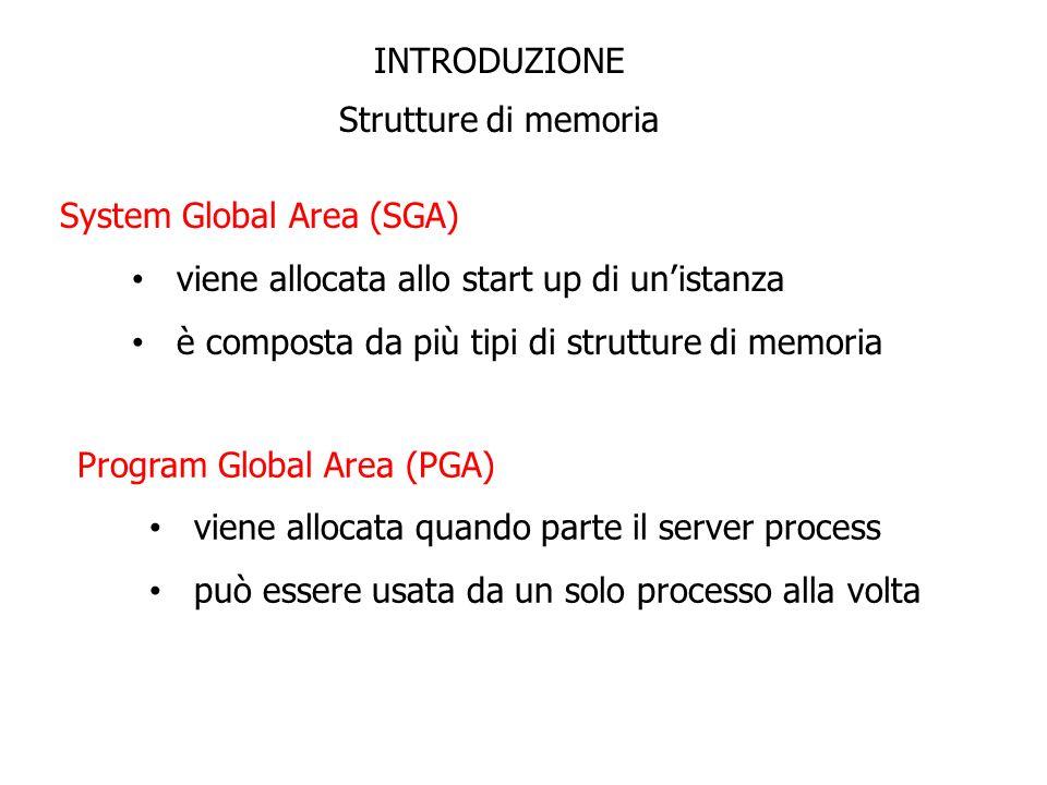 INTRODUZIONE Strutture di memoria System Global Area (SGA) viene allocata allo start up di unistanza è composta da più tipi di strutture di memoria Pr