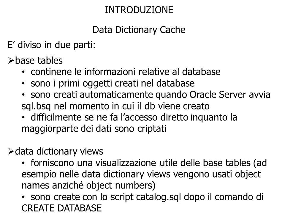 INTRODUZIONE Data Dictionary Cache E diviso in due parti: base tables continene le informazioni relative al database sono i primi oggetti creati nel d