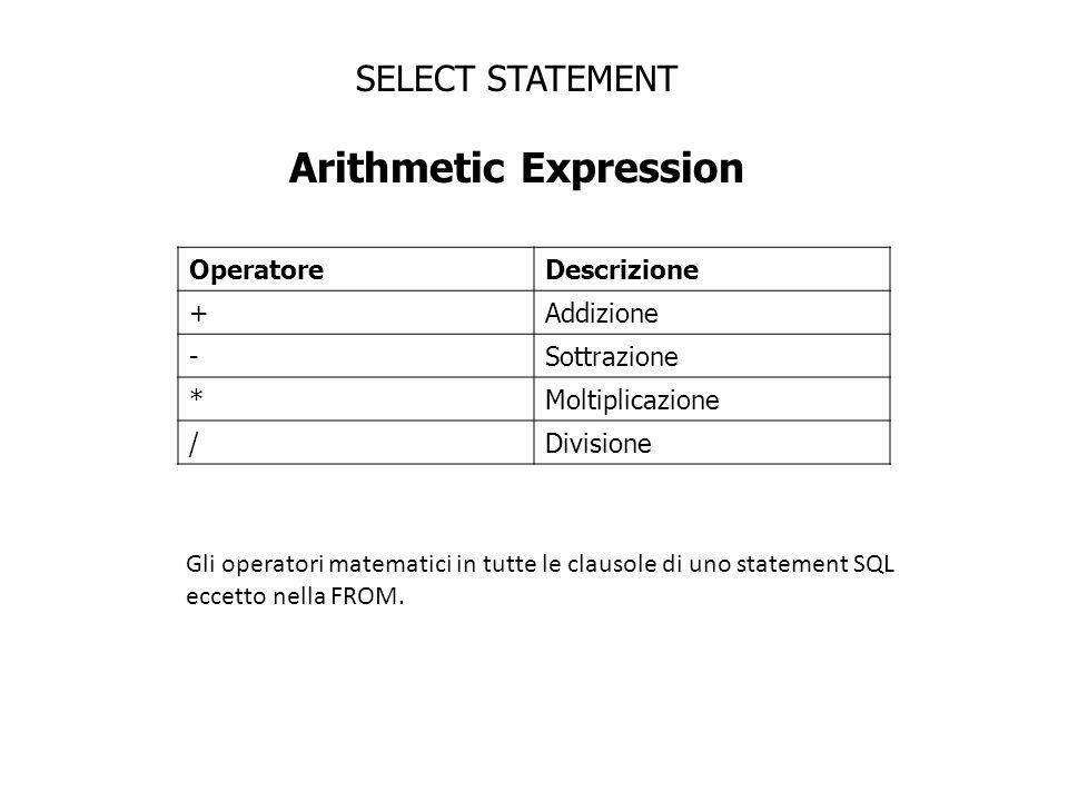 SELECT STATEMENT Arithmetic Expression OperatoreDescrizione +Addizione -Sottrazione *Moltiplicazione /Divisione Gli operatori matematici in tutte le c