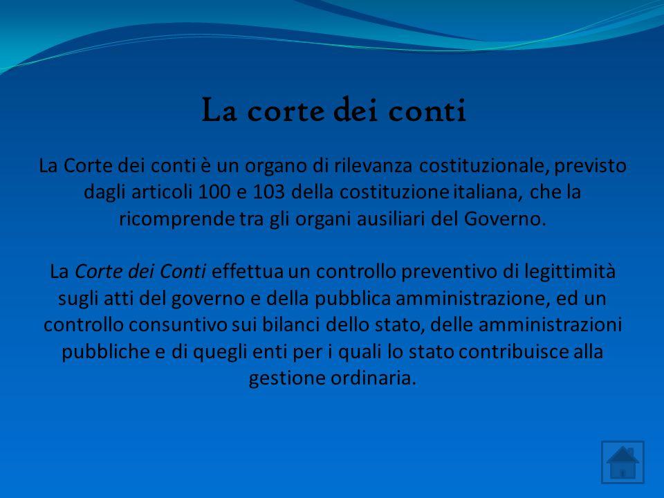 La corte dei conti La Corte dei conti è un organo di rilevanza costituzionale, previsto dagli articoli 100 e 103 della costituzione italiana, che la ricomprende tra gli organi ausiliari del Governo.