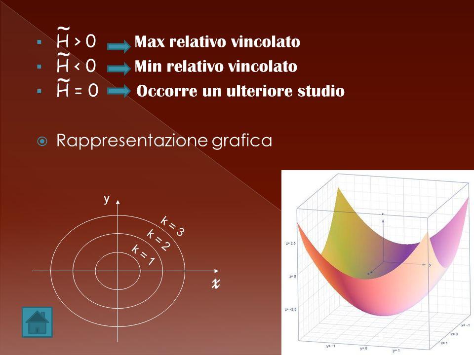 H > 0 Max relativo vincolato H < 0 Min relativo vincolato H = 0 Occorre un ulteriore studio Rappresentazione grafica ~ ~ ~ y x k = 3 k = 2 k = 1
