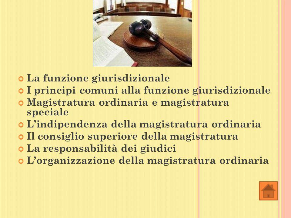 La funzione giurisdizionale I principi comuni alla funzione giurisdizionale Magistratura ordinaria e magistratura speciale Lindipendenza della magistratura ordinaria Il consiglio superiore della magistratura La responsabilità dei giudici Lorganizzazione della magistratura ordinaria