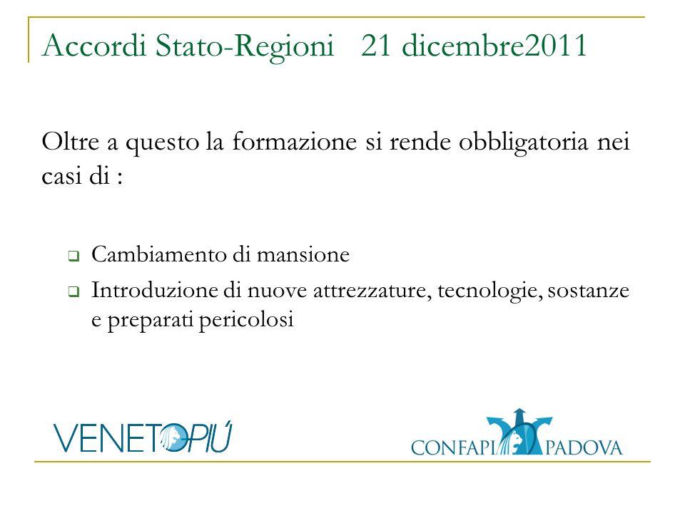 Accordi Stato-Regioni 21 dicembre2011 Oltre a questo la formazione si rende obbligatoria nei casi di : Cambiamento di mansione Introduzione di nuove attrezzature, tecnologie, sostanze e preparati pericolosi