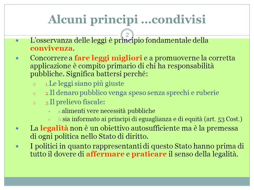 Alcuni principi …condivisi 2 Losservanza delle leggi è principio fondamentale della convivenza.