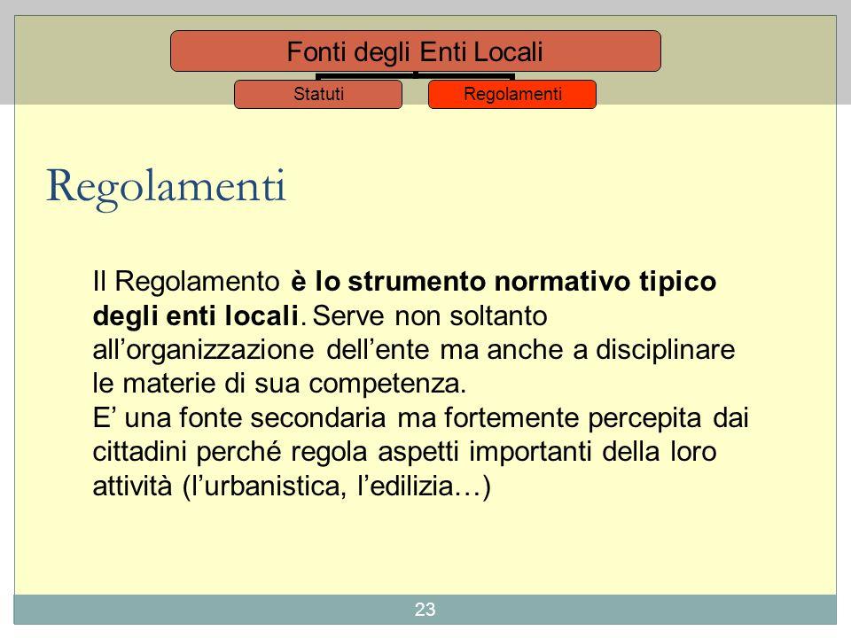 22 Fonti degli Enti Locali StatutiRegolamenti La legge 142/1990 che ora è stata assorbita nel T.U. delle leggi sullordinamento degli enti locali, prev