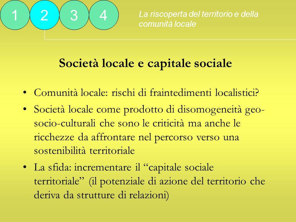 Società locale e capitale sociale La riscoperta del territorio e della comunità locale 1234 Comunità locale: rischi di fraintedimenti localistici.