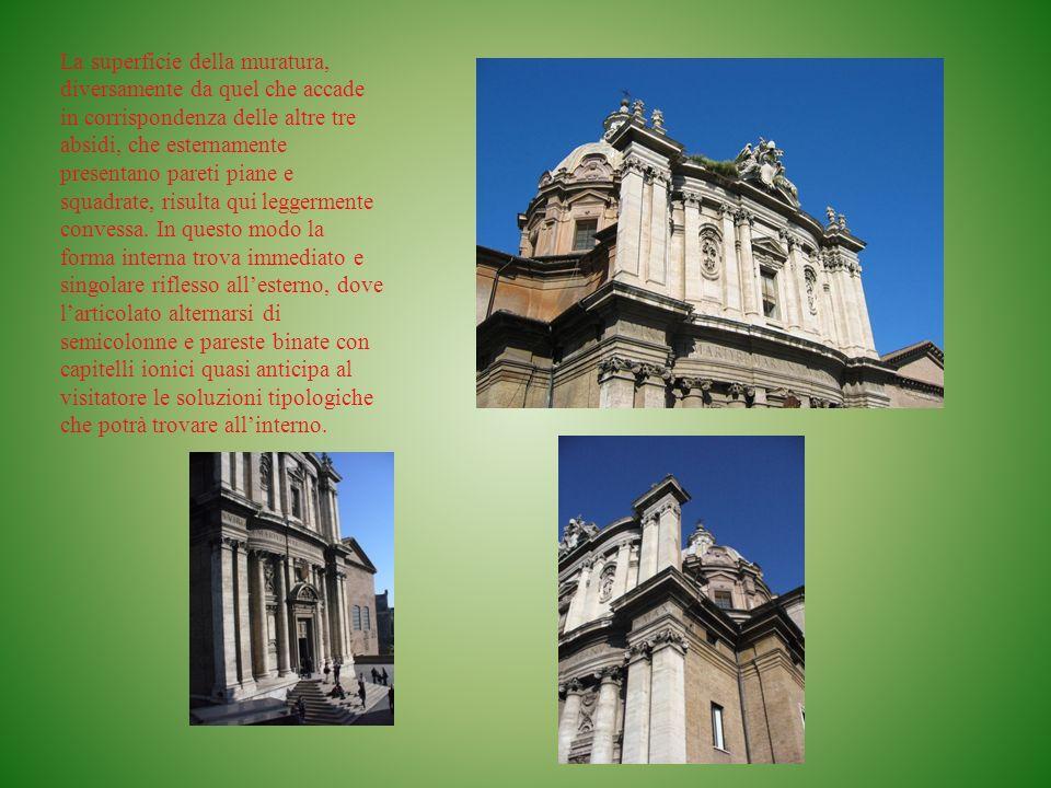 LA CUPOLA Analoghe singolarità costruttive si rincontrano anche nella cupola e pianta circolare, la cui fantasiosa tipologia deriva dellardita sovrapposizione di due ipotesi costruttive opposte: la calotta del Pantheon e la struttura di San Pietro.