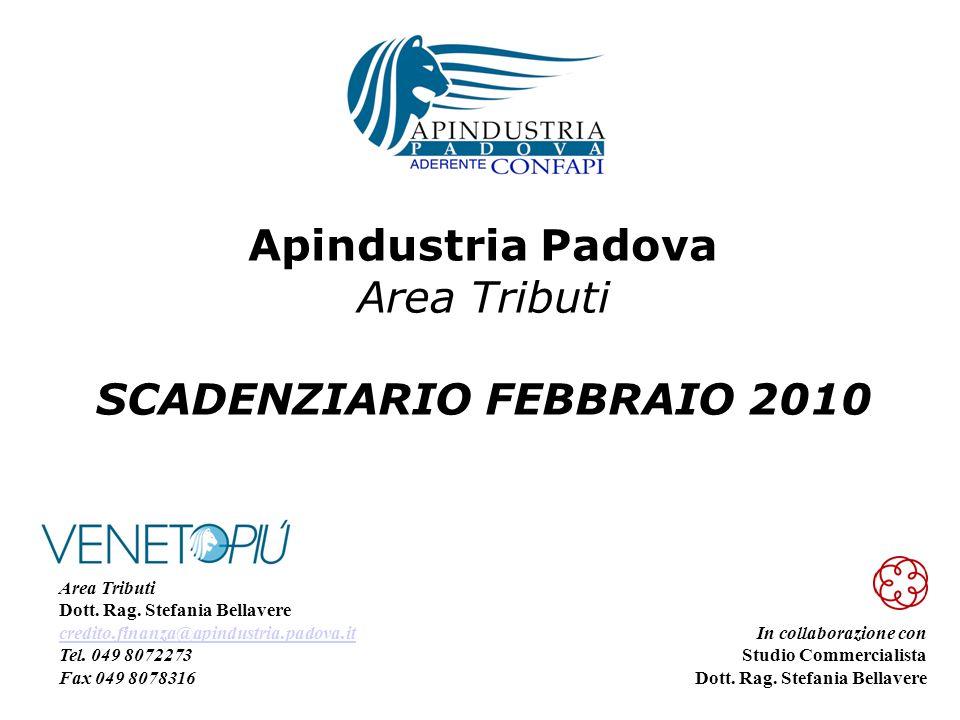 Apindustria Padova Area Tributi SCADENZIARIO FEBBRAIO 2010 In collaborazione con Studio Commercialista Dott.