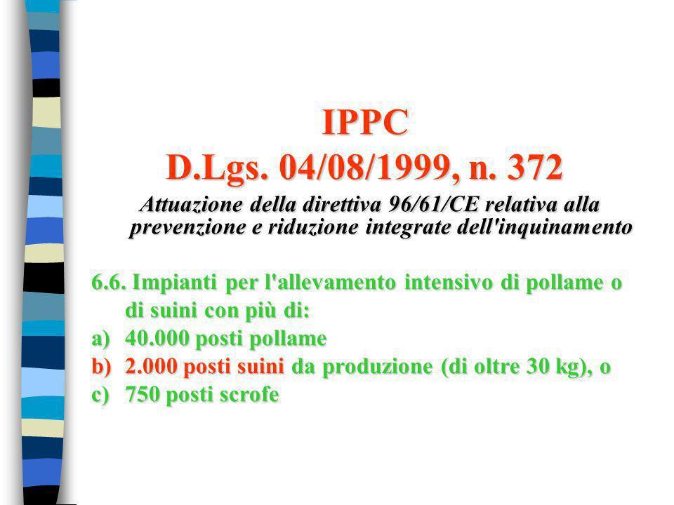 IPPC D.Lgs. 04/08/1999, n. 372 Attuazione della direttiva 96/61/CE relativa alla prevenzione e riduzione integrate dell'inquinamento Attuazione della