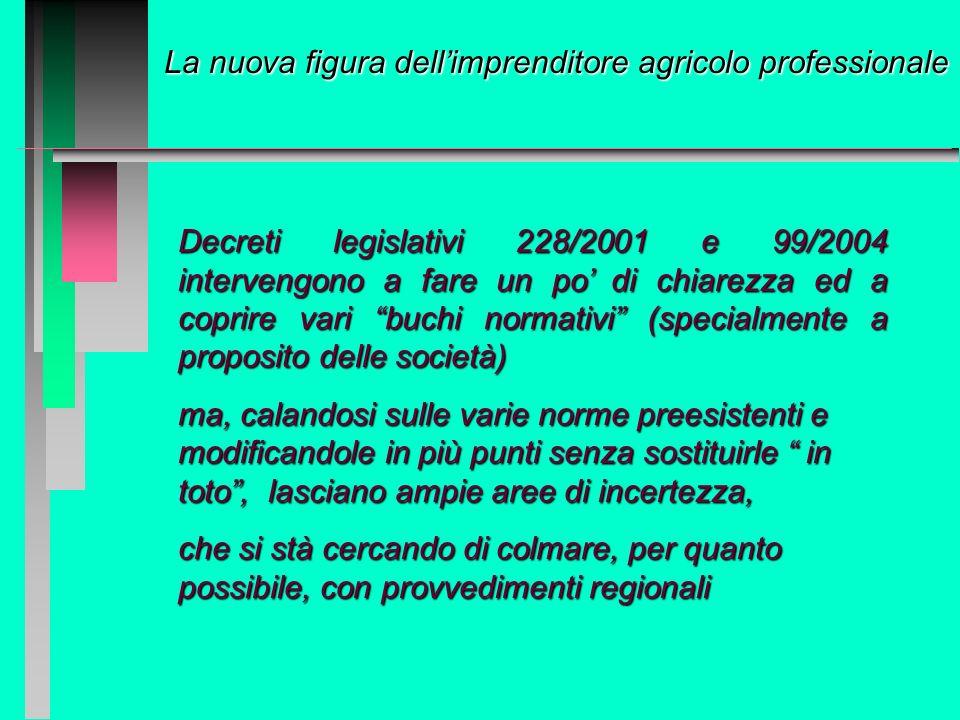 La figura dellimprenditore agricolo Storicamente una situazione confusa e contradditoria: varie leggi che trattano della materia, definendo requisiti