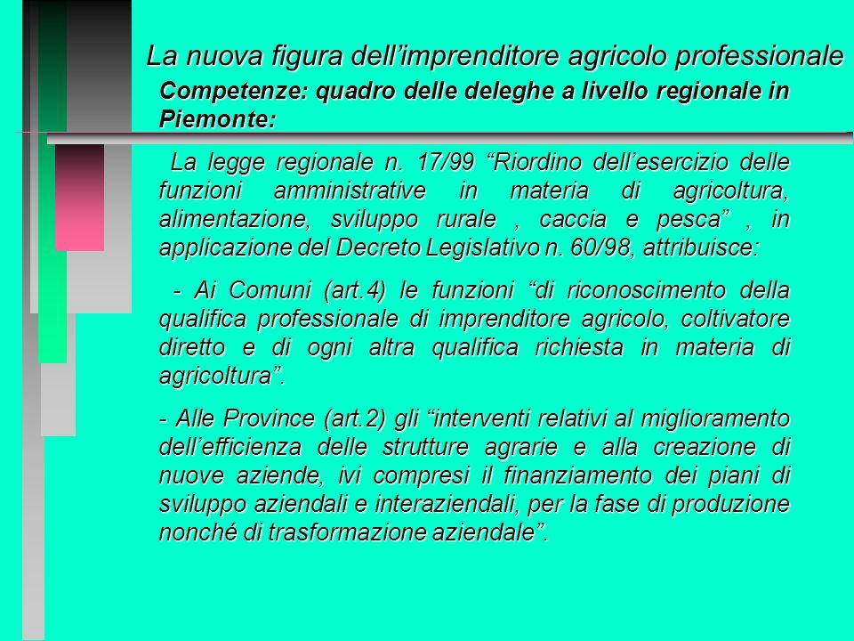 La nuova figura dellimprenditore agricolo professionale Decreti legislativi 228/2001 e 99/2004 intervengono a fare un po di chiarezza ed a coprire var
