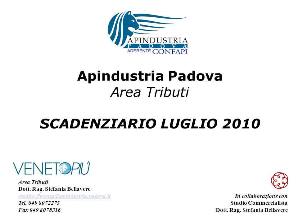 Apindustria Padova Area Tributi SCADENZIARIO LUGLIO 2010 In collaborazione con Studio Commercialista Dott.