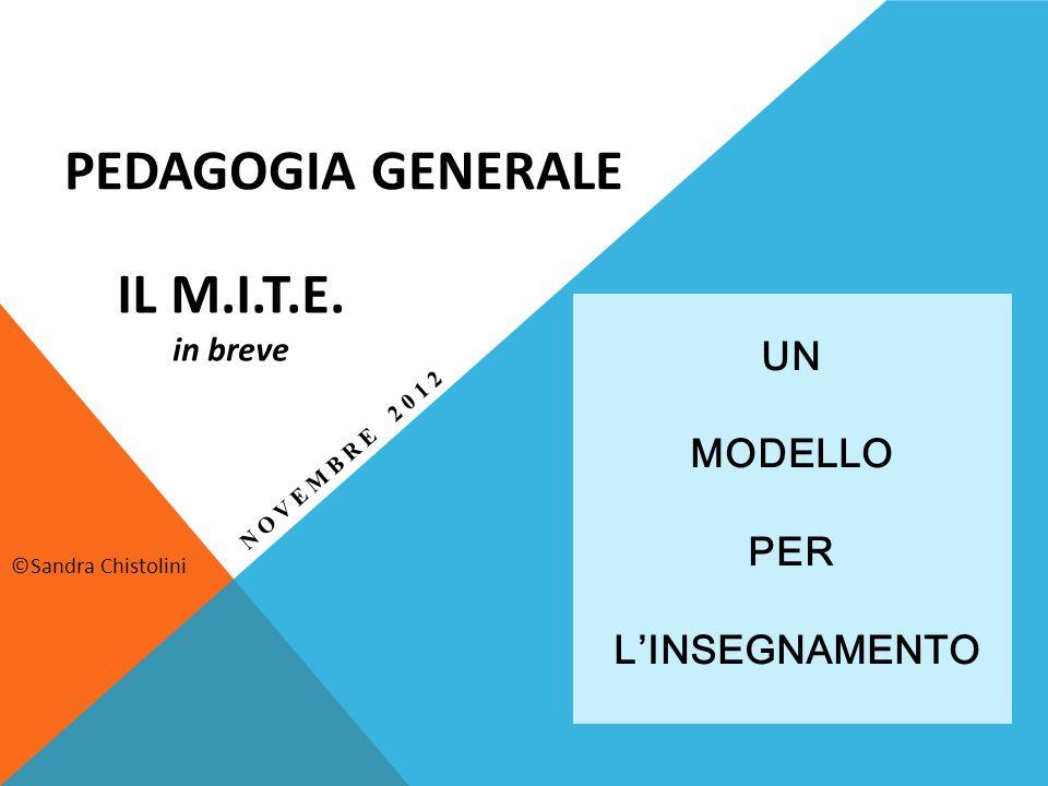 UN MODELLO PER LINSEGNAMENTO PEDAGOGIA GENERALE ©Sandra Chistolini IL M.I.T.E. in breve NOVEMBRE 2012