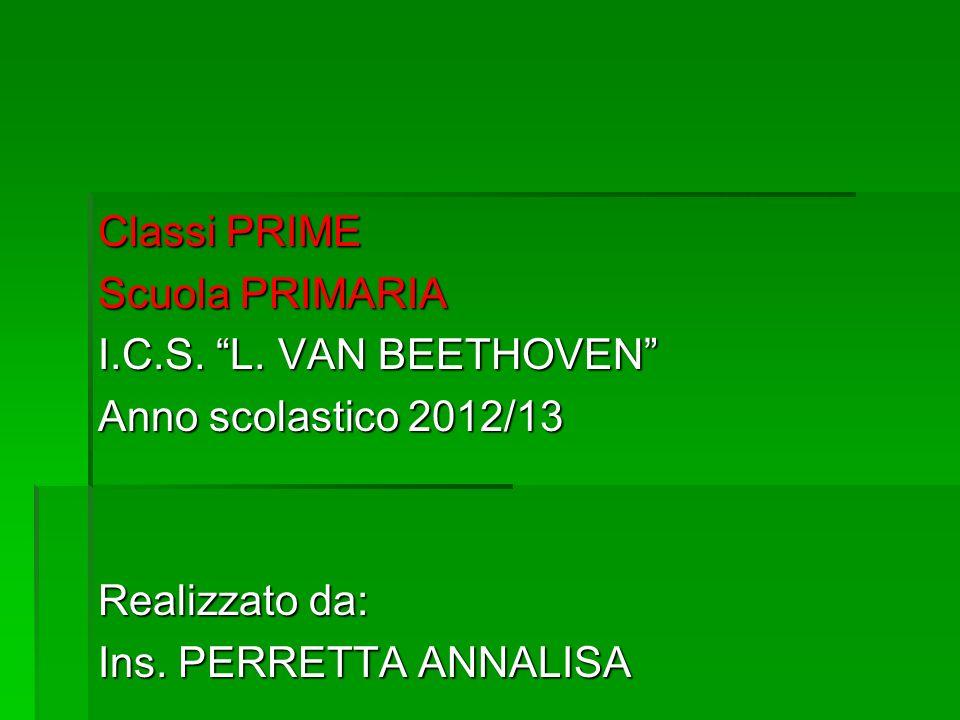 Classi PRIME Scuola PRIMARIA I.C.S. L. VAN BEETHOVEN Anno scolastico 2012/13 Realizzato da: Ins. PERRETTA ANNALISA