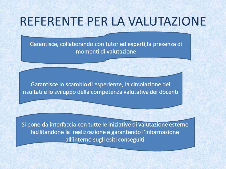 REFERENTE PER LA VALUTAZIONE Garantisce, collaborando con tutor ed esperti,la presenza di momenti di valutazione Garantisce lo scambio di esperienze,