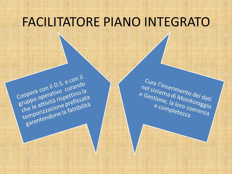 FACILITATORE PIANO INTEGRATO Coopera con il D.S. e con il gruppo operativo curando che le attività rispettino la temporizzazione prefissata garantendo