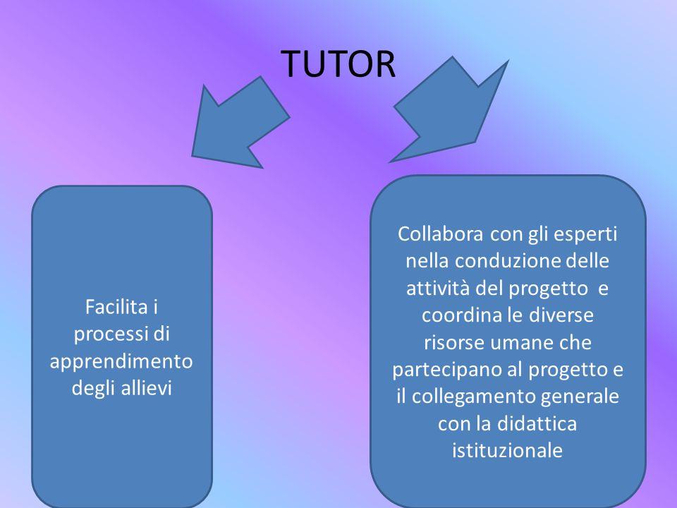 TUTOR Facilita i processi di apprendimento degli allievi Collabora con gli esperti nella conduzione delle attività del progetto e coordina le diverse