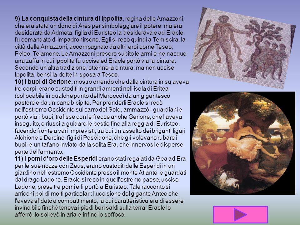 6) L'annientamento degli uccelli di Stinfalo (lago dell'Arcadia), che avevano artigli, becco e anche penne di bronzo, che scagliavano come frecce, e s