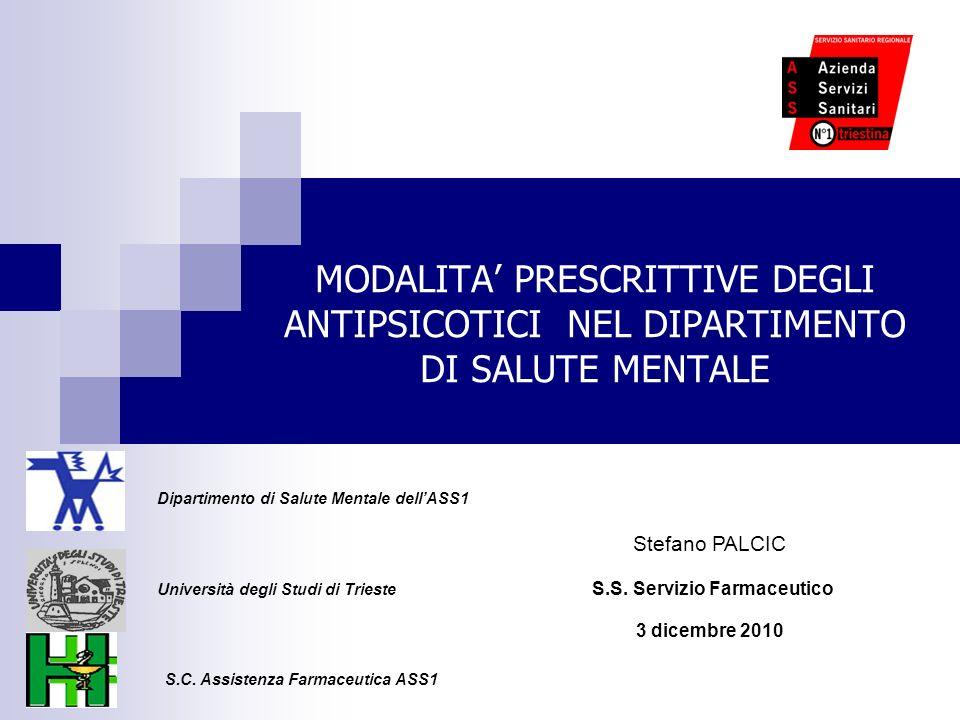 MODALITA PRESCRITTIVE DEGLI ANTIPSICOTICI NEL DIPARTIMENTO DI SALUTE MENTALE Università degli Studi di Trieste Dipartimento di Salute Mentale dellASS1