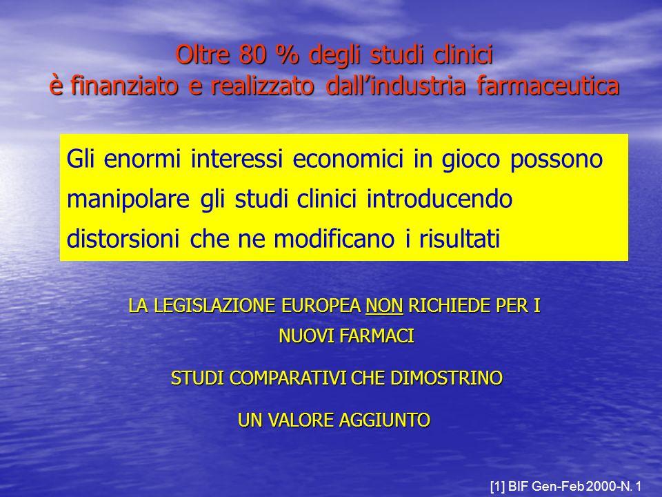 [1] BIF Gen-Feb 2000-N. 1 Gli enormi interessi economici in gioco possono manipolare gli studi clinici introducendo distorsioni che ne modificano i ri