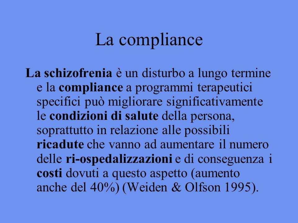 La compliance La schizofrenia è un disturbo a lungo termine e la compliance a programmi terapeutici specifici può migliorare significativamente le condizioni di salute della persona, soprattutto in relazione alle possibili ricadute che vanno ad aumentare il numero delle ri-ospedalizzazioni e di conseguenza i costi dovuti a questo aspetto (aumento anche del 40%) (Weiden & Olfson 1995).