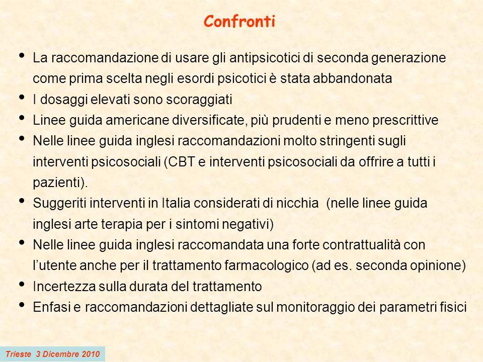 Trieste 3 Dicembre 2010 Confronti La raccomandazione di usare gli antipsicotici di seconda generazione come prima scelta negli esordi psicotici è stat