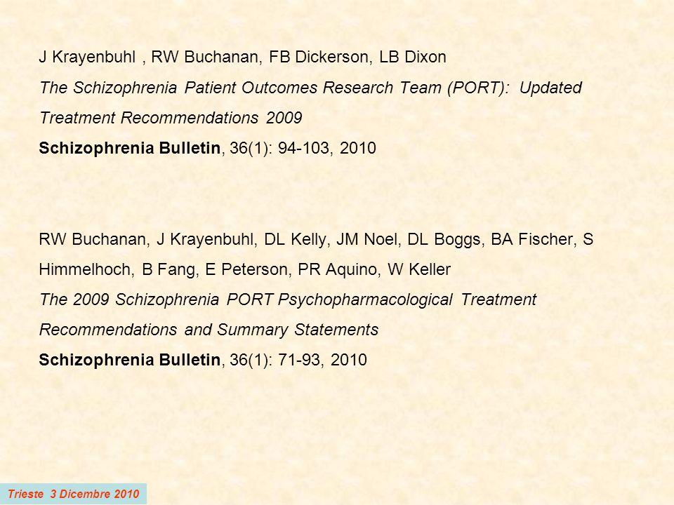 Trieste 3 Dicembre 2010 Trattamento dei sintomi psicotici positivi in pazienti al primo episodio acuto Un farmaco antipsicotico ad eccezione di clozapina e olanzapina Dosi raccomandate: FGA: 300-500 mg/die Cpz equiv (Aloperidolo 6-10 mg; Flufenazina 6-10 mg; Perfenazina 30-50 mg; Trifluoperazina 15-25 mg) SGA: Risperidone 2-4 mg; Quetiapina 300-600 mg; Aripiprazolo ?; Ziprasidone .
