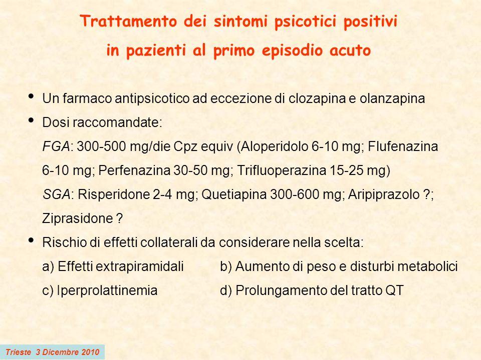 Trieste 3 Dicembre 2010 Trattamento dei sintomi psicotici positivi in pazienti al primo episodio acuto Un farmaco antipsicotico ad eccezione di clozap