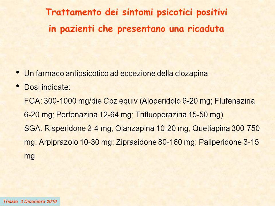 Trieste 3 Dicembre 2010 Terapia di mantenimento Indicata per tutti i pazienti che hanno risposto al trattamento farmacologico dei sintomi psicotici positivi durante un episodio acuto col farmaco usato nellepisodio acuto Dosi raccomandate: FGA: 300-600 mg/die Cpz equiv (Aloperidolo 6-12 mg; Flufenazina 6-12 mg; Perfenazina 30-60 mg; Trifluoperazina 15-30 mg) SGA: lo stesso dosaggio usato nellepisodio acuto La terapia mirata o intermittente non è raccomandata tranne per i pazienti che non accettano la terapia di mantenimento o mostrano estrema sensibilità agli effetti collaterali Un farmaco long-acting può essere usato a queste dosi: Flufenazina 6.25-35 mg/2 sett; Aloperidolo 50-200 mg/4 sett; Risperidone 25-75 mg/2 sett