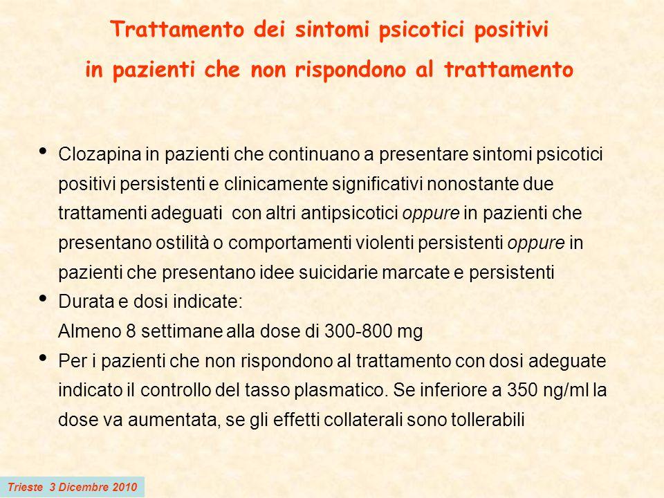 Trieste 3 Dicembre 2010 Trattamento dei sintomi psicotici positivi in pazienti che non rispondono al trattamento Clozapina in pazienti che continuano
