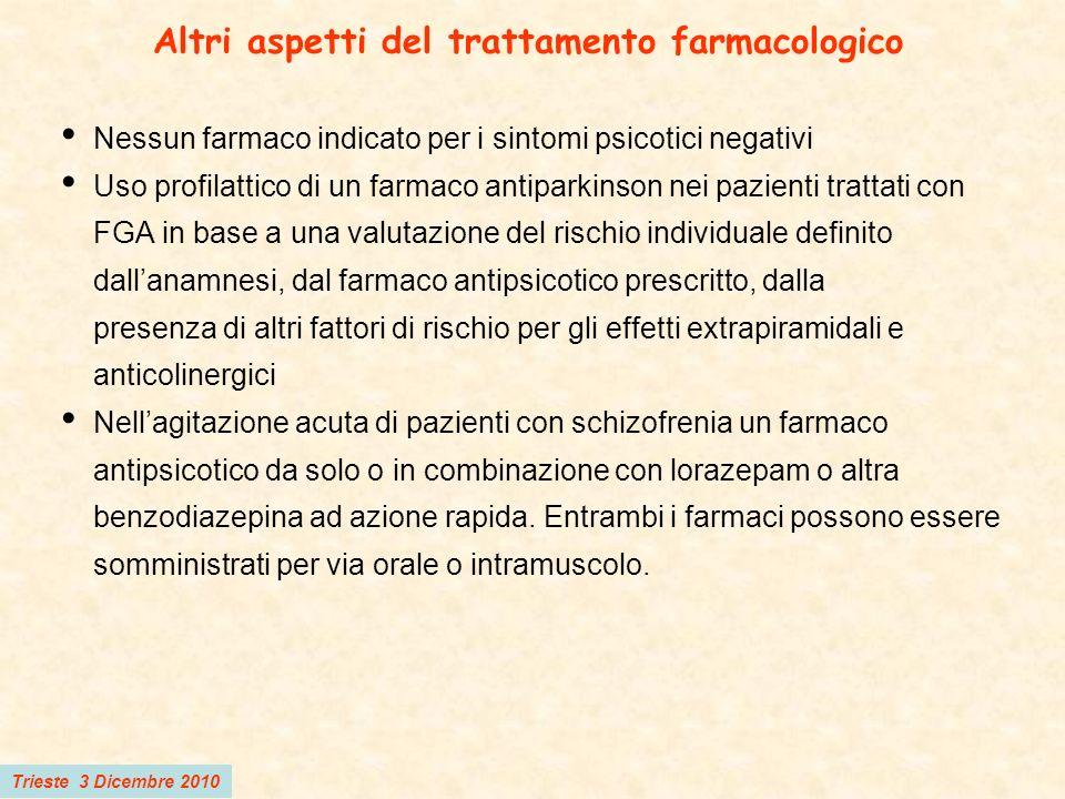 Trieste 3 Dicembre 2010 Altri aspetti del trattamento farmacologico Nessun farmaco indicato per i sintomi psicotici negativi Uso profilattico di un fa