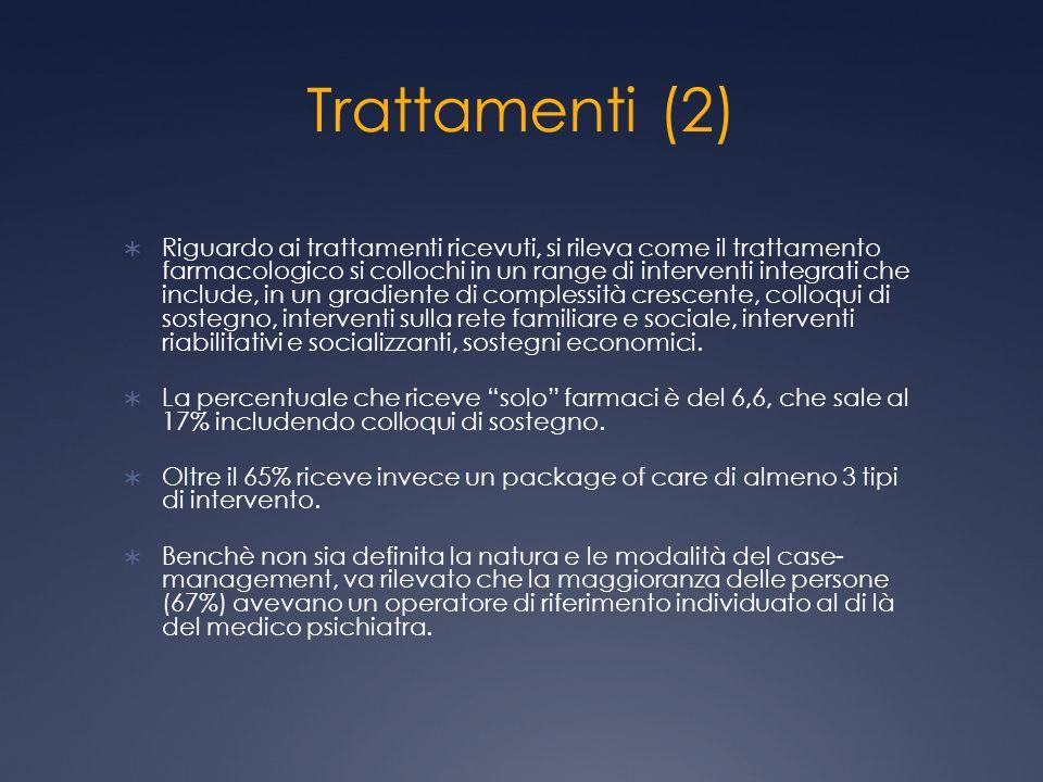 Trattamenti (2) Riguardo ai trattamenti ricevuti, si rileva come il trattamento farmacologico si collochi in un range di interventi integrati che incl