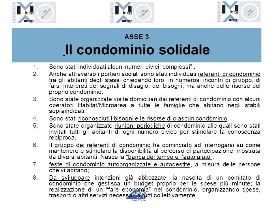 ASSE 3 Il condominio solidale 1.Sono stati individuati alcuni numeri civici complessi. 2.Anche attraverso i portieri sociali sono stati individuati re